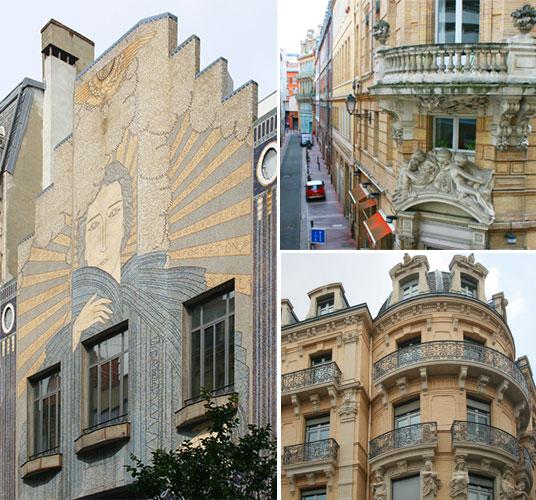 Detalles de arquitectura art nouveau en Toulouse